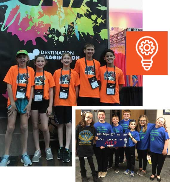 Innovation Destination Imagination students and students from Ayer
